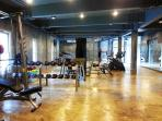 Large gym is well equipped.