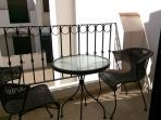 Lower terrace with Bistro table. great for early morning coffee