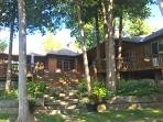 View of cottage from lake, amazing views from all rooms & large deck for relaxing & eating outside