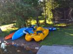 Water toys: Canoe, 1 person and 2 person kayaks, paddle board and springfree trampoline