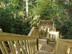 RED CREEK CABIN: Special stairway leads to the rushing creek below.