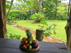 Fruit platter in the rancho with a stream running through the yard in the background.