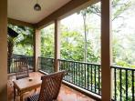 Enjoy breakfast or BBQ in nature listening to birds & squirrels. Access from living & master room.
