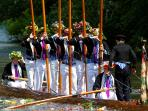 Eton College boys celebrating King George III's Birthday with a river procession every June