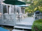 spacious deck with outdoor furniture and gas grill- 43 Depot Road South Harwich Cape Cod New England Vacation Rentals