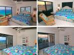 The Seaview Cottage bedrooms. Upper row: MBR, day & sunset. Lower row: Guest BR, day & susnset
