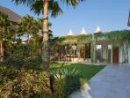 Villa Malaathina - Upstairs sun loungers above entrance