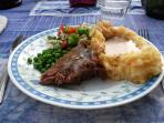 Roast, mashed potatoes, vegetable, and salad. One of our $17 supper choices