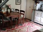 Aga range and antique kitchen table.