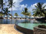 Sweeming pool by the beach at Hotel.
