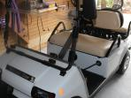 Golf Cart that seats 4.  Back seat can be folded down to use for hauling or seating