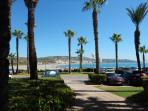 Literally a stones throw from sand & sea. Torreguadiaro Beach viewed from the Apartments entrance.