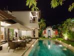Villa Alamanda exterior at night
