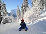 Local sledding track. Winter
