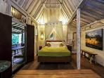 North teak wood antique bungalow with bed and mosquito netting