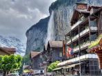 Lauterbrunnen town during the summer months