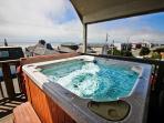 Wonderful ocean view hot tub on upper deck.