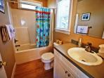 Upper level hall bathroom with tub/shower combo.