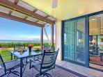 The spacious ground floor lanai perfect for dining & access to Kaanapali Beach