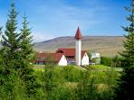 The beautiful church and museum in Reykholt, Borgarfjörður. Historical place