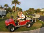 The Red Hummer Golf Cart
