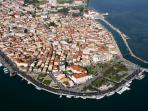 Picturesque old town of Lefkada from air