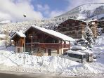 three bedrooms have sofa beds as well.the bus stops outside chalet to all lifts town 10 min walk,