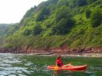 kayaking along the coast