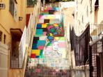 3 minutes walking from our apartment. This staircase takes you to Santa Teresa Art District