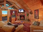 Living Room with Fireplace at Scenic Mountain View