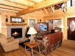 Living Room with Fireplace at Where Bears Play