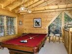 Lofted Game Room with Pool Table at Where Bears Play