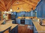 Ktichen with Blue Cabinets at Winter Wonderland