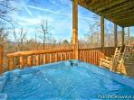 Back Deck with Hot Tub at Tree Top Lodge