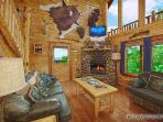 Living Room with Fireplace at Wild Bill's Hideout