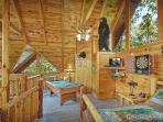 Lofted Game Room with Pool Table at Wild Bill's Hideout