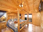 Main Level Bedroom with King Bed at Moose Mountain Lodge