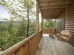 Lower Level Deck with Porch Swing at Over The Rainbow