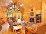 Lving Room with Fireplace at Wildlife Retreat