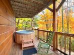 First Floor Deck with Hot Tub at Wildlife Retreat