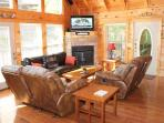 Living Room with Fireplace at Mountain Music