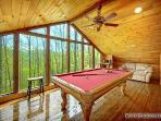Loft Area with Pool Table at Making Memories Lodge