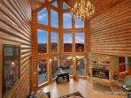 Two Story Living Room at Smoky Mountain Lodge