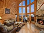 Living Room with Fireplace at Smoky Mountain Lodge