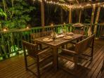 Outdoor verandah with views of the rainforest, creek and swimming hole at night