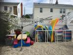 Clothesline and beach chairs, gear, toys, and more.