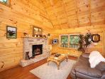 Living Room with Fireplace at Smoky Bears Creek