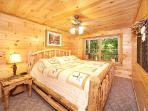 Lower Level King Bedroom at Smoky Bears Creek