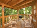 Main Level Deck with Grill and Rockers at Smoky Bears Creek