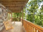 First Floor Deck with Swing at Smoky Bears Creek